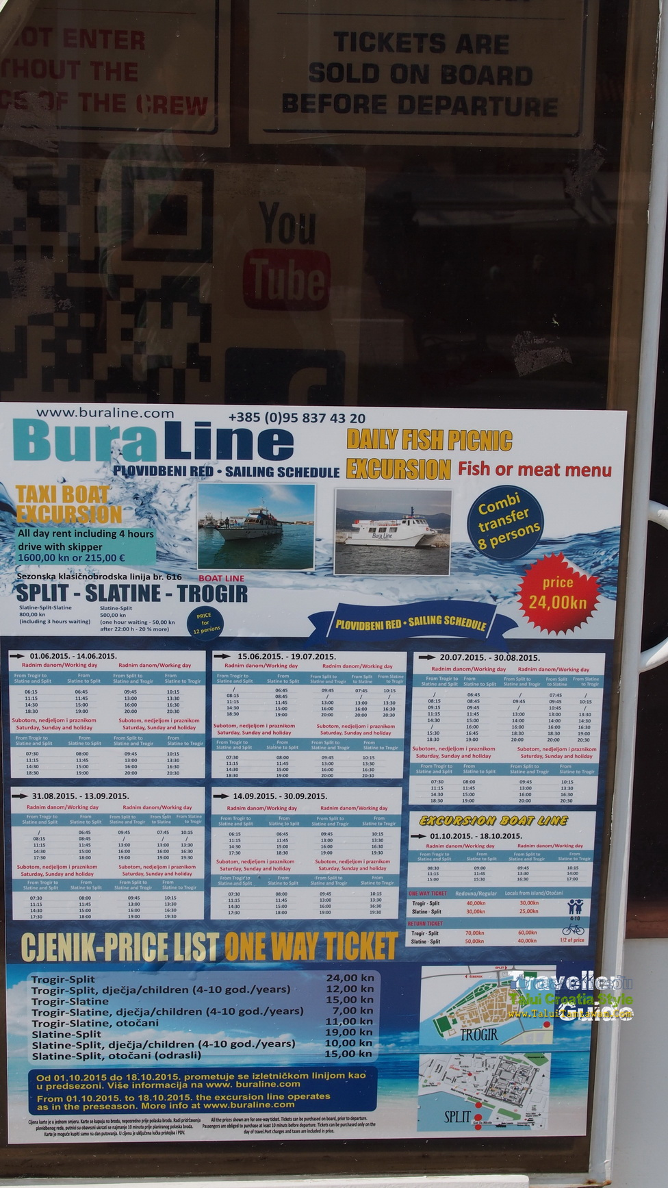 BuraLine Taxi boat One way Ticket : Split - Trogir 24kn