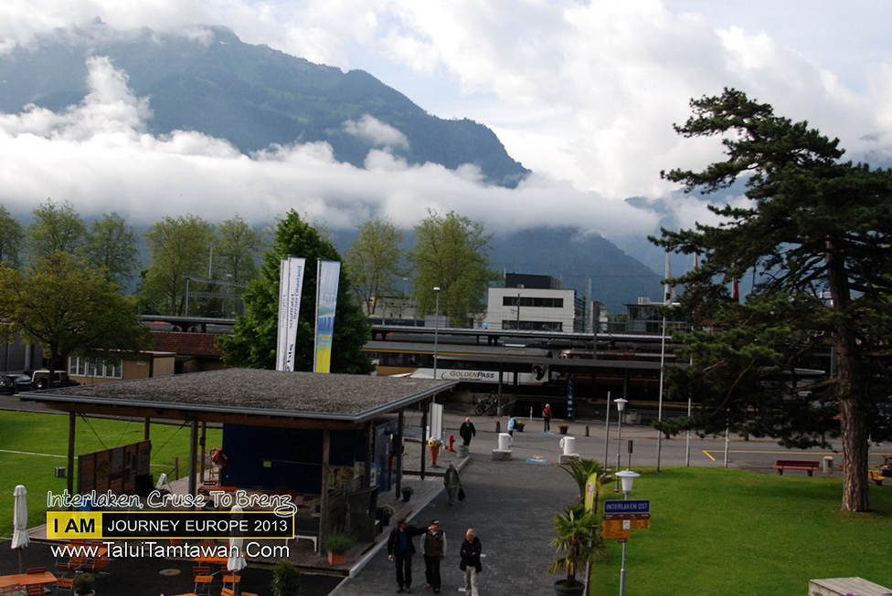 I was on ferry at Intelaken to Brienz Looking back to the train station.