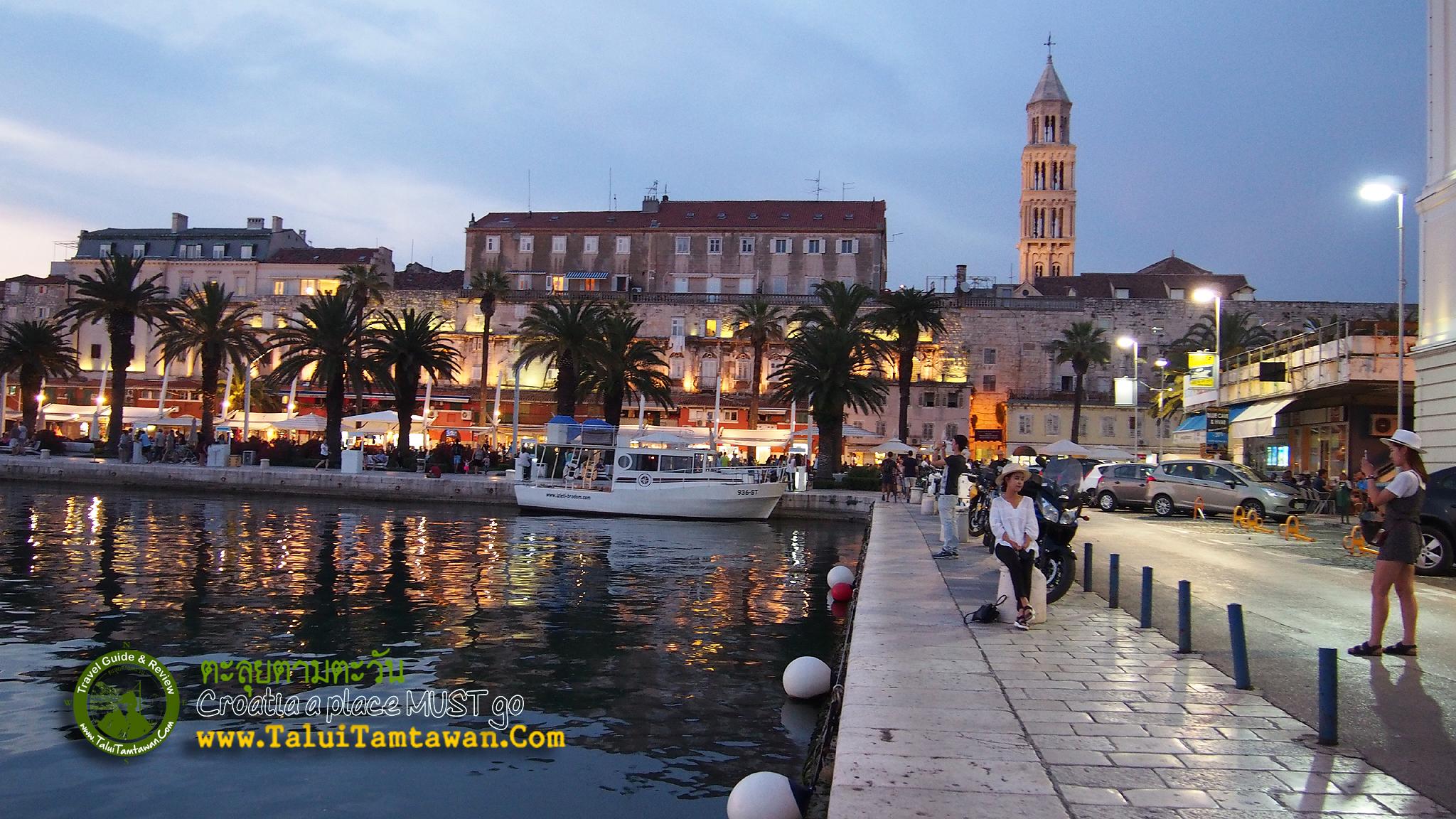 Split is one of the World heritage. บริเวณ ลาน หน้าท่าเรือ ซึ่งอยู่ด้านหน้าของเมืองเก่าของสปริท